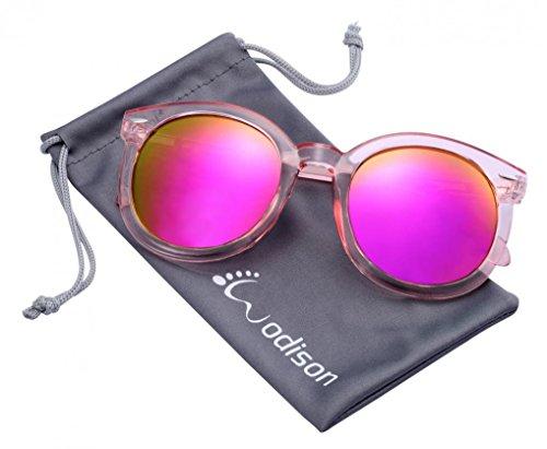 WODISON Womens Retro Mirrored Sunglasses Wayfarer Clear Frame Pink Reflective Lens UV400 Protection
