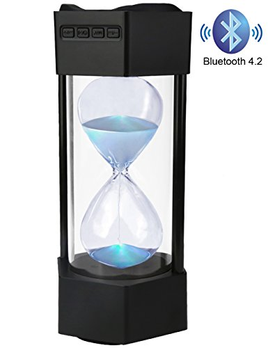 Bluetooth Speaker for iPhone, Portable Bluetooth Speaker with LED Light, Bass Sound, Mobile Speaker indoor with Glass Hourglass Black
