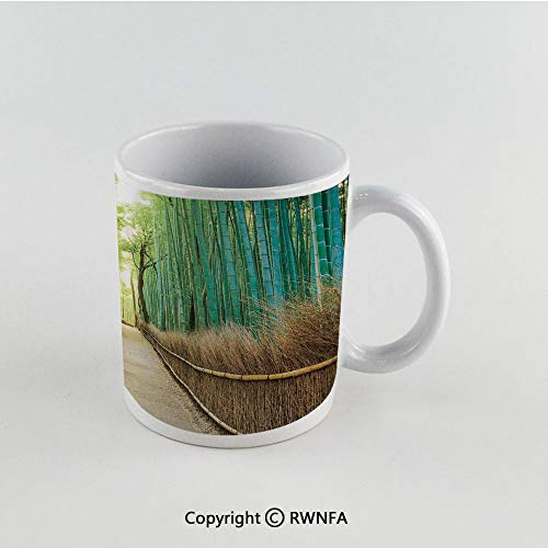 11oz Unique Present Mother Day Personalized Gifts Coffee Mug Tea Cup White Bamboo Forest in Japan,Panoramic View of Historic Landscape Park Decorative, Funny Ceramic Coffee Tea Cup for Office, Home,