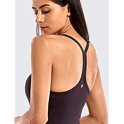 CRZ YOGA Seamless Workout Tank Tops for Women Racerback Athletic Camisole Sports Shirts with Built in Bra at Women's Clothing store