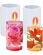 2pcs Candle Silicone Resin Molds, 2 Sizes Cylinder Candle Moulds for Resin Casting Epoxy Mold for Making Wax Candles, Soaps, Polymer Clay, Crafts, Flower Specimen, Insect Specimen