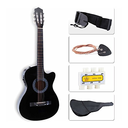 Beginners Acoustic Guitar w/Guitar Case, Strap, Tuner & Pick Steel Strings Black from Unknown