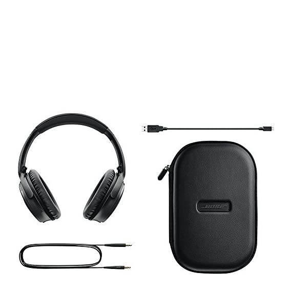 Bose QuietComfort 35 (Series I) Wireless Headphones, Noise Cancelling - Black 5 World-class noise cancellation Bluetooth and NFC pairing Balanced sound at any volume Up to 20-hour battery life per wireless charge Noise-rejecting dual microphone for clear calls Lightweight and comfortable for all-day listening Bose Connect app control QuietComfort 35 wireless headphones are engineered with world-class noise cancellation that makes quiet sound quieter and music sound better Free yourself from wires and connect easily to your devices with Bluetooth and NFC pairing