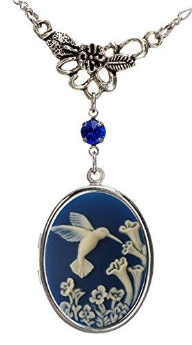 Hummingbird Locket Leaf Charm Best Friend Necklace Photo Pendant Fashion Jewelry Pouch for - Hummingbird Locket