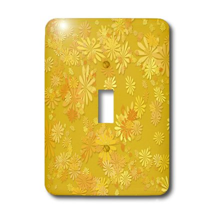 3dRose lsp_38563_1 Fanciful Whimsical Array of Various Flowers in Shades Of Single Toggle Switch -