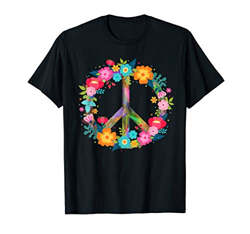 Peace Love T-Shirt Hippie Costume Tie Die 60s ()