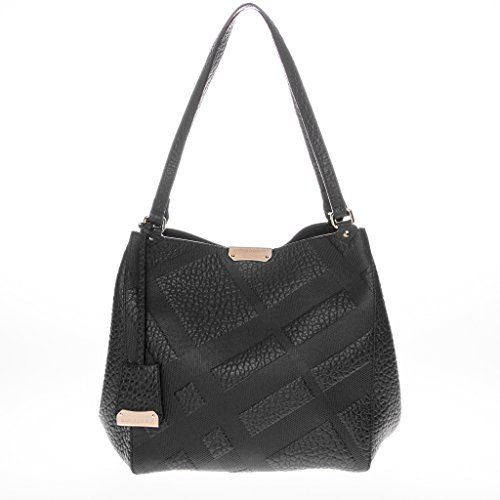 Burberry Women's Small Canter in Embossed Check Black