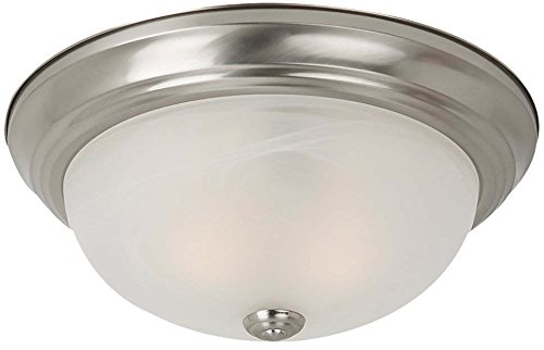 (Sea Gull Lighting 75943-962 Windgate Three-Light Flush Mount Ceiling Light with Alabaster Glass Shade, Brushed Nickel Finish)