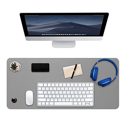 DTWNHAY Desk Pad, Office Desk Pad, 31.5 x 15.75 inches, Double Side Water Resistant Non-Slip PU Leather Desk Mat Protector for Computer, Laptop, Keyboard and Mouse (Grey + Silver) ()
