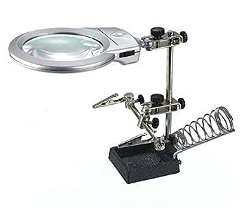 SATKIT 16129A Soporte con lupa especial manos libres para electronica y Hobby + soporte soldador + luz le: Amazon.es: Oficina y papelería