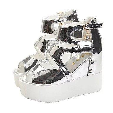 LvYuan Mujer-Tacón Cuña-Zapatos del club-Sandalias-Oficina y Trabajo Vestido Informal-PU-Negro Blanco Plata Silver