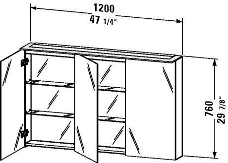 Duravit Cabinet Glass (Duravit XL759608585 - XL Mirror cabinet White lqr 760x1200x138/208mm)