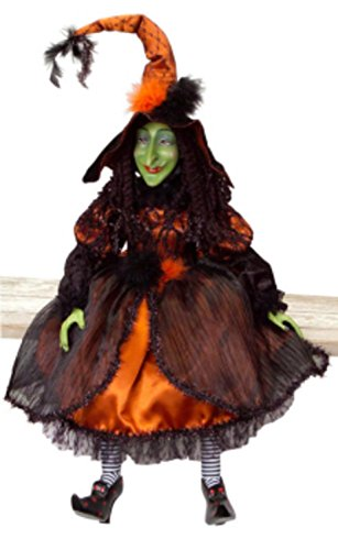 Melrose Whimsical Orange and Black Posable Halloween Witch Decorations 36
