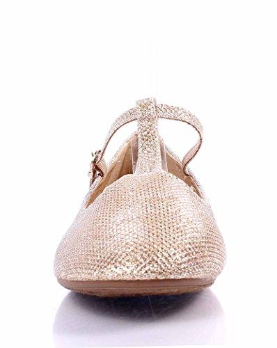 Weyoh Casual Glitter Lady Fibbia Regolabile Cinturino Scarpe Da Donna Ballerine Champagne
