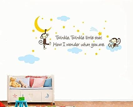 Amazon.com: Monkey Clouds Stars Moon Twinkle Twinkle Little Star ...