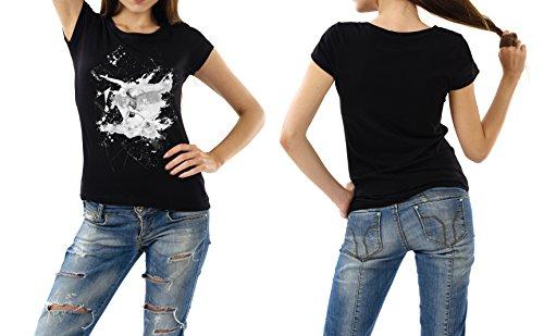 Synchronschwimmen schwarzes modernes Damen / Frauen T-Shirt mit stylischen Aufdruck
