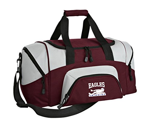 Customized Swim Team Gym Bag | Small Swimming Sport Duffel (Pack of 18 Bags/Maroon/Grey) by all about me company