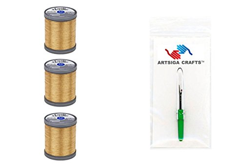 Coats & Clark Sewing Thread Metallic Embroidery Thread 125 Yards (3-Pack) Gold Bundle with 1 Artsiga Crafts Seam Ripper S990-9440-3P