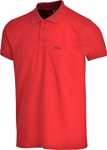 John Shark polo shirts for men cotton classic embroidered logo (L, Red)