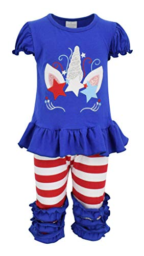 Unique Baby Girls Patriotic Unicorn Capri Set 4th of July Outfit (8/XXXL) Blue