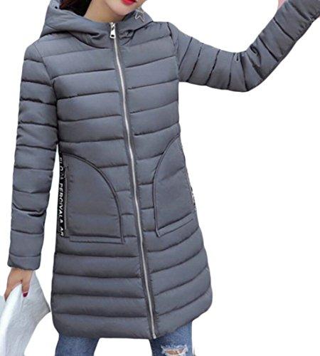 Gocgt Women's Long Sleeve Hooded Down Packable Coat Gery