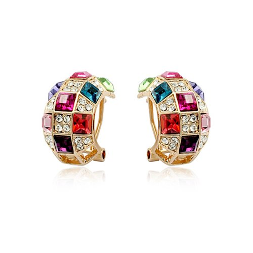 Fashion Plaza Christmas Gift Hoop Earings with Coloful Crystals E361