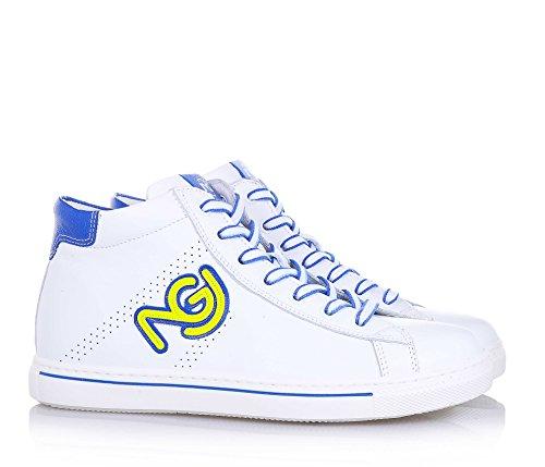 NERO GIARDINI - Sneaker à lacets blanche en cuir, made in Italy, lacets bicolore, pièce bleue à l'arrière, logo latéral, garçon, garçons