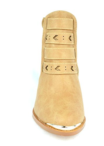 Chase & Chloe Coddy-2 Ankle Womens Bootie With Adjustable Ankle Strap Closure Nude KsqpopiqVy