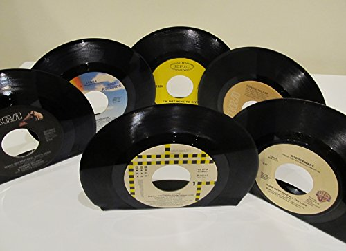 vinyl-record-bookends-45-rpm-pop-rock-country-artists-assorted-lot-of-12-bookends