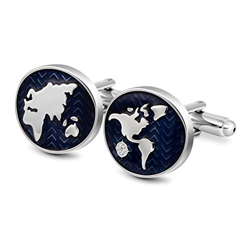 VIILOCK Oval World Map Enamel Cufflinks for Men Sliver Blue Tone French Shirt Cuff Links Wedding business Gift Mens ()
