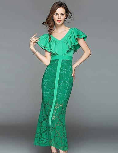 Green pelliccia Abito da YFLTZ nappa donna tromba sofisticato sirena tinta maglia vintage in unita geometrica bordo qnHRZgq