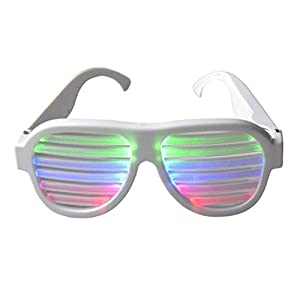 Light up Shutter Glasses by Glowseen -Sound Reactive-USB Rechargeable Rave Glasses-White
