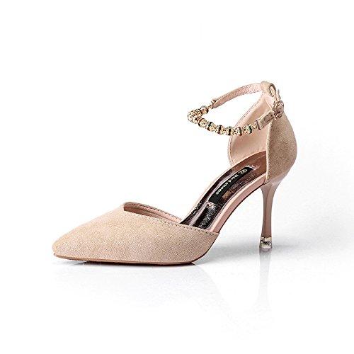 Solo ranurado y versátil blanco Heel 37 fina zapatos punta High el reborde punta de de satinado para con m de zapatos nAqA7x8Orw