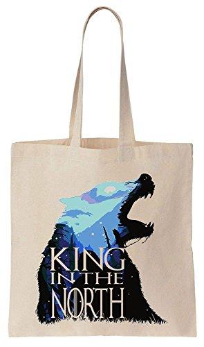JON SNOW Stark Wolf KING IN THE NORTH Sacchetto di cotone tela di canapa