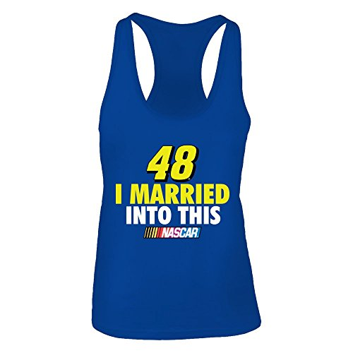 FanPrint Jimmie Johnson Tank Top - I Married Into This - Women's Tank Top/Royal/XS