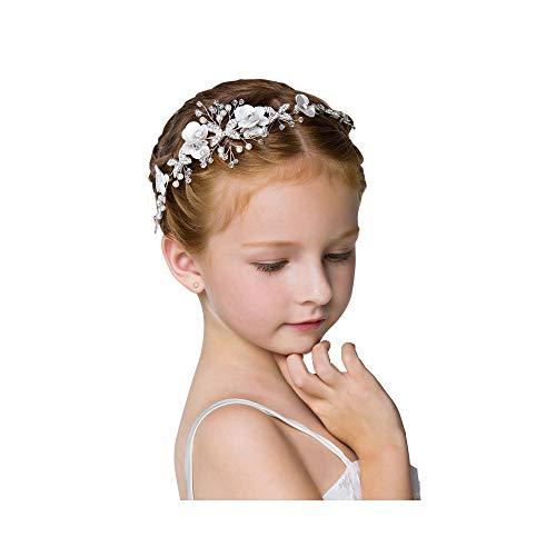 ZOCONE Cute Princess Wedding Headpiece Flower Headband for Girls Wedding Headdress Pearl Hair Band Bridesmaid Headdress Beading Sweet and Lovely for flower Girl (Silver)