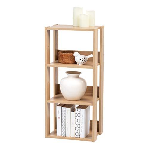 IRIS USA 3 Tier Open Wood Bookshelf, Light Brown