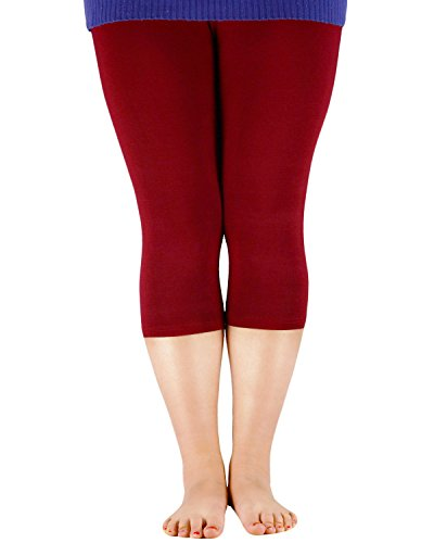 Zando Womens 3/4 Length Plus Size Elastic Stretchy Yoga Pants Soft Breathable Cropped Sport Lightweight Capri Leggings Wine Red US 3X Plus (Tag 6XL)
