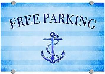 Free Parking 5-Pack Nautical Stripes Premium Brushed Aluminum Sign CGSignLab 18x12
