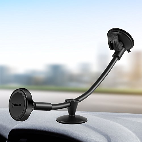 IPOW Truck Phone Holder,Long Arm Universal Car Magnetic Windshield Mount with Flexible Base Compatible with iPhone X 8 8P 7 7P 6S 6 5S, Galaxy S9 S9+ S8 S8+ S7 S6 S5,Google, Nexus, LG, Huawei. by IPOW