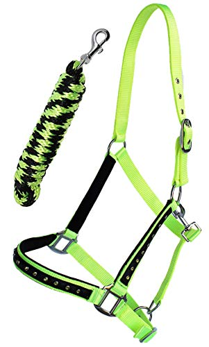 PRORIDER Nylon Horse Halter Nickel Hardware Padded Lead Rope Tack Lime Green - Green Tack