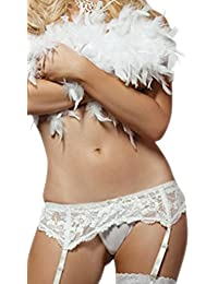 SpicySpot Lace Garter Belt With Matching Thong and Lace Top Sheer Stocking