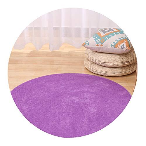 Solid Memory Foam Chair Mat Area Rug for Children Bedroom Rugss Doormat Big Round Carpet for Living Room,Purple,Diameter 120cm ()