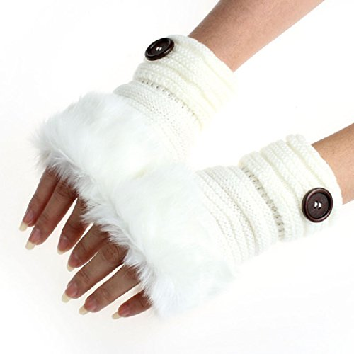 BEAUTYVAN, Fashion Women Warm Winter Faux Rabbit Fur Mittens Wrist Fingerless Gloves (White)