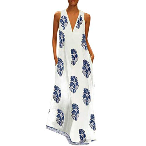 Women Vintage Daily Casual V Neck Sleeveless Boho Floral Sundress Maxi Dress Blue Bib Lace Dress