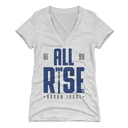 500 LEVEL Aaron Judge Women's V-Neck Shirt Medium Tri Ash - New York Baseball Women's Apparel - Aaron Judge Rise B