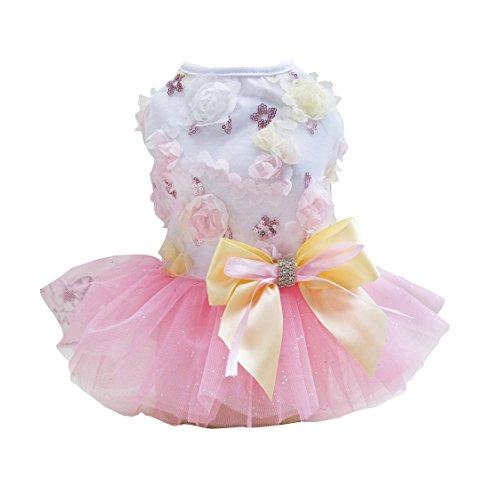 Tank Birthday Girl Dog (Rdc Pet Dog Dress Puppy Dog Princess Dresses,Tutu Flower and Sequin Dot Wedding Lace Dress Luxury Bow Dress for Small Dog Girl (XL, PINK))