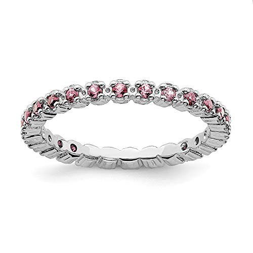 - 925 Sterling Silver Pink Tourmaline Band Ring Size 8.00 Stone Stackable Gemstone Birthstone October/pink Tour/creat P Sapphire Fine Jewelry Gifts For Women For Her
