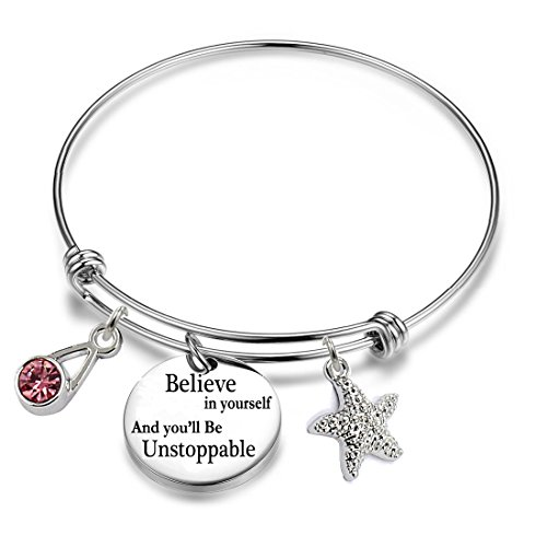 Monogrammed Round Earrings - YOYONY Inspirational/motivational/LOVE/Memorial/Thankful/Beauty/Praise/Religious/Friendship Meaningful Message Charm Bracelets (Believe in yourself and you'll Be Unstoppable)