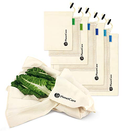 PlanetCare Premium Reusable Produce Bags: 7pc Set: Mesh Produce Bags 100% Organic Cotton with Swaddle Sheet for Fresh Leafy Green Vegetables:Cotton Bags for Veggies, Fruit, Storage & Grocery Shopping